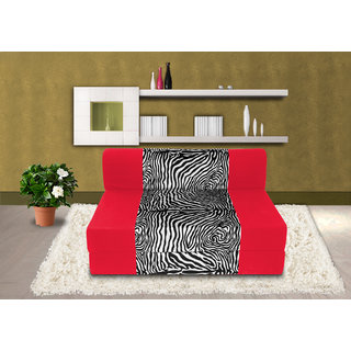 Dolphin Zeal Single Seater Sofa Bed-Red Zebra- 3ft x 6ft