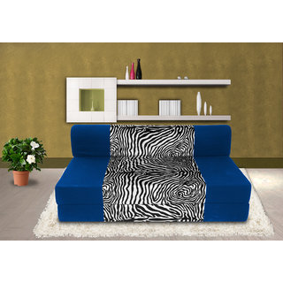 Dolphin Zeal 2 Seater Sofa Bed-R.Blue Zebra- 4ft x 6ft