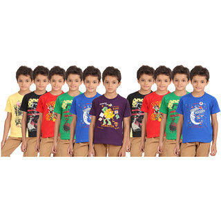 LYRIL BOYS CHEST PRINTED HALFSLEEVE ROUNDNECK T-SHIRT-PACK OF 10
