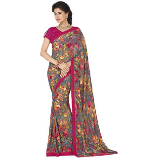 Lovely Look Gray  Pink Printed Saree LLKATY602