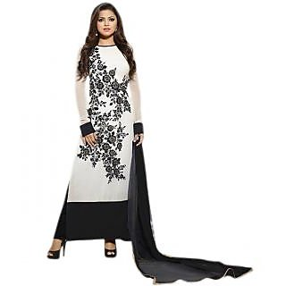 White aari embroidered semi-stitched dress