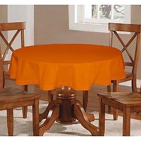 Lushomes  Plain Sun Orange Round Table Cloth - 4 seater