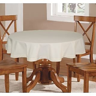 Lushomes Plain Ecru Round Table Cloth - 4 seater