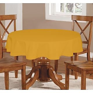 Lushomes Plain Lemon Chrome Round Table Cloth - 4 seater