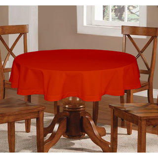 Round Table Orange.Lushomes Plain Red Wood Round Table Cloth 6 Seater