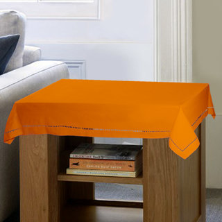 Lushomes Plain Sun Orange Button Side Table Cloth