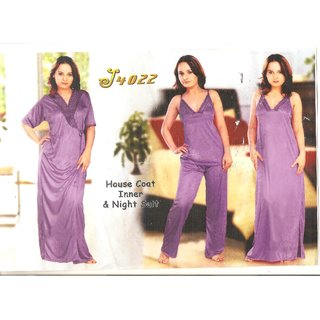 WOMEN SATIN 4 PCs LONG WITH SLEVES, WITHOUT SLEAVE NIGHT WEAR