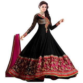 JB Fashion Georgette Embroidered Semi-stitched Salwar Suit Dupatta Material