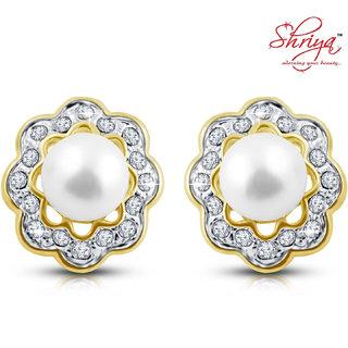 Shriya flower shaped diamond pearl Earring