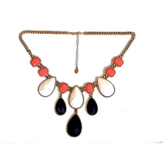 Designer necklace with 3 types of stones and gold plated chain