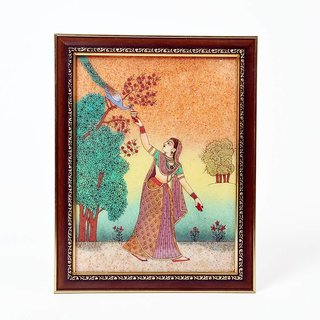 Lady Feeding Peacock Ethnic Gemstone Painting 347