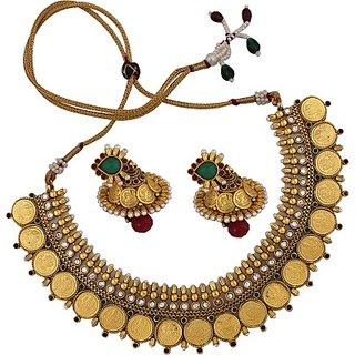 SthriElite Lakshmi Coin Alloy Jewel Set         (Multicolor)