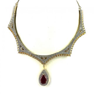 Aradhya American Diamond Necklace Set For Women