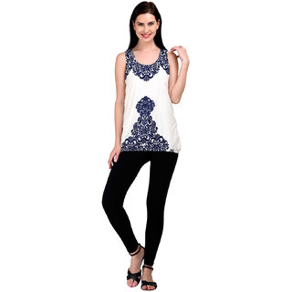 Westrobe Womens Nevy Blue Printed White Baloon Top