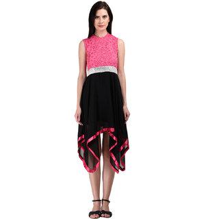 Westrobe Womens Pink n Black Partywear Short Dress