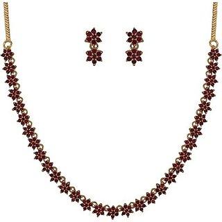 SthriElite Flower Design Alloy Jewel Set         (Red)