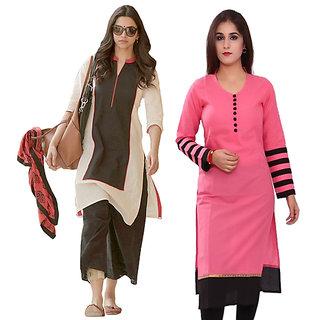 Gulaboo Present Beige and Dark Green Kurti + Pink Cotton Kurti Combo Offer