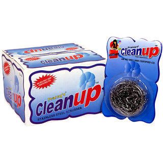 Pranay Cleanups  Pack of 10 High Quality Rust Free Stainless Steel Wire Meshed Scrubber Juna for cleaning in Kitchen.