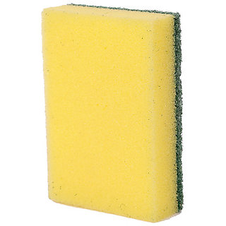 Pranay Cleanups Pack of Yellow and Green Colored 12 Spong Foam Pads for Cleaning