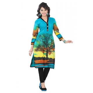 Cotton Casual Wear Kurti In Blue Colour