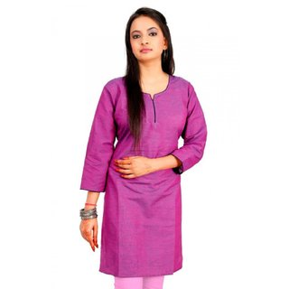 Plain Cotton Kurti In Magenta Colour
