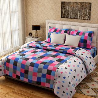 Desi Connection Checks Cotton Double Bed Sheets(4212)