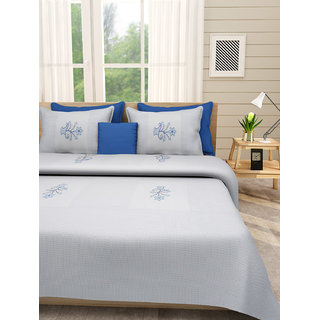 Desi Connection Blue-White Contemporary Cotton Double Bed Sheet(4480)