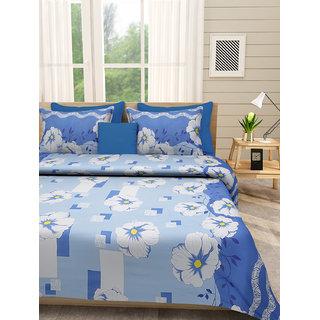 Desi Connection Blue Floral Cotton Double Bed Sheet(4484)