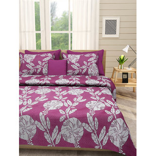 Desi Connection Purple Contemporary Cotton Double Bed Sheet(4488)