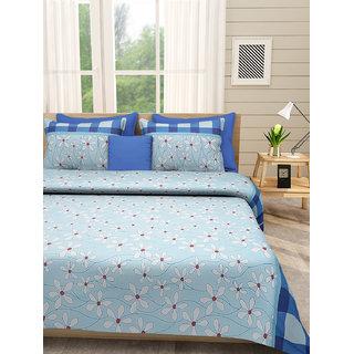 Desi Connection Blue Floral Cotton Double Bed Sheet(4491)