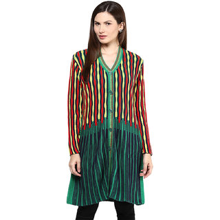 BrandTrendz Green Striped Wool Stitched Kurti