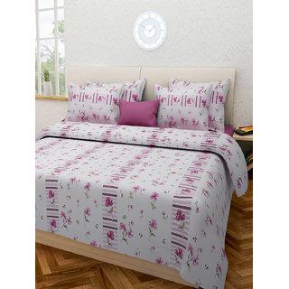 Desi Connection  Floral Cotton Double Bed Sheet(4345)