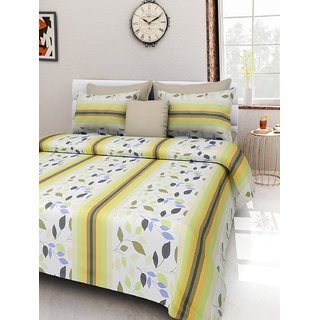 Desi Connection  Leaf Printed Cotton Double Bed Sheet(4354)