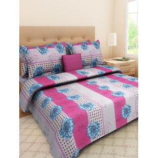 Desi Connection  Floral Cotton Double Bed Sheet(4365)