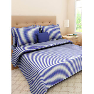 Desi Connection  Striped Cotton Double Bed Sheet(4378)