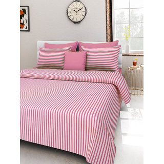 Desi Connection  Striped Cotton Double Bed Sheet(4381)