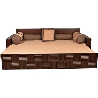 Hometown Shine Engineered Wood Double Sofa Bed Finish Color Walnut Mechanism Type Pull