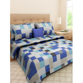 Desi Connection  Printed Satin Cotton Double Bed Sheet(4409)