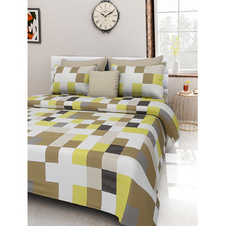 Desi Connection  Printed Satin Cotton Double Bed Sheet(4410)