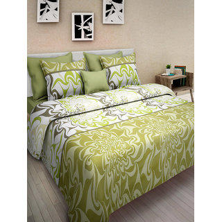 Desi Connection Green Contemporary Cotton Double Bed Sheet(4423)