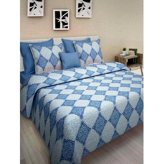Desi Connection Blue  Contemporary Cotton Double Bed Sheet(4430)