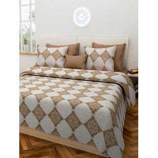 Desi Connection Beige Contemporary Cotton Double Bed Sheet(4432)