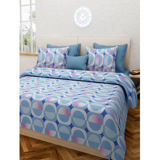 Desi Connection Blue-Pink Contemporary Cotton Double Bed Sheet(4436)