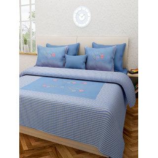 Desi Connection Blue Floral Cotton Double Bed Sheet(4437)