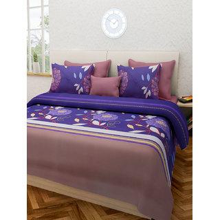 Desi Connection Blue Floral Cotton Double Bed Sheet(4441)