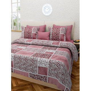 Desi Connection Brown Contemporary Cotton Double Bed Sheet(4443)