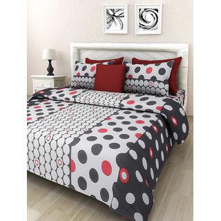 Desi Connection Black-White Contemporary Cotton Double Bed Sheet(4454)