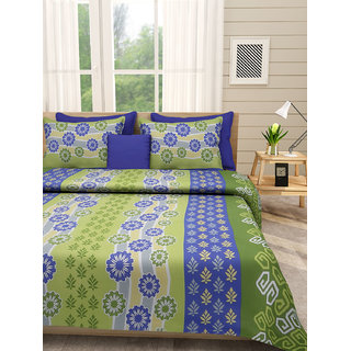 Desi Connection Blue-Green Contemporary Cotton Double Bed Sheet(4463)