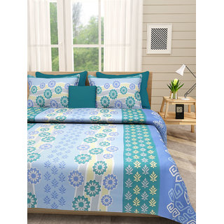 Desi Connection Green-Blue Contemporary Cotton Double Bed Sheet(4464)