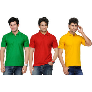 AVE Men Casual Polo T-shirts Pack Of 3 (AVE-PT-Gr-Re-Ye)